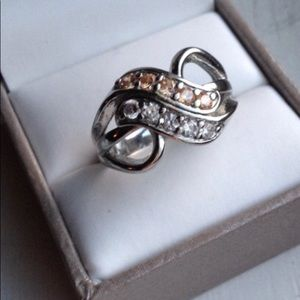 Ring vintage Cz silver band white stone double row
